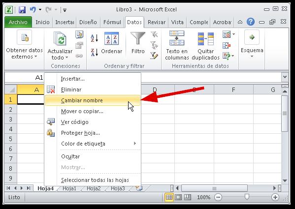 Hojas en Excel