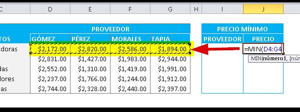 Encontrar el mínimo en Excel