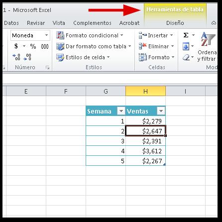 Fichas Contextuales en Excel