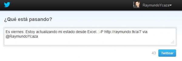 Enviando Tweets desde Excel