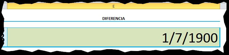 Diferencia de fechas en Excel