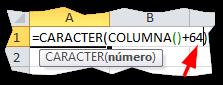 La función Caracter en Excel
