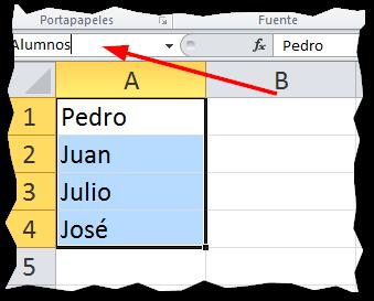 Nombres de rango en Excel