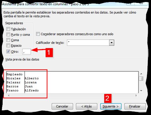 Separar un texto en Excel